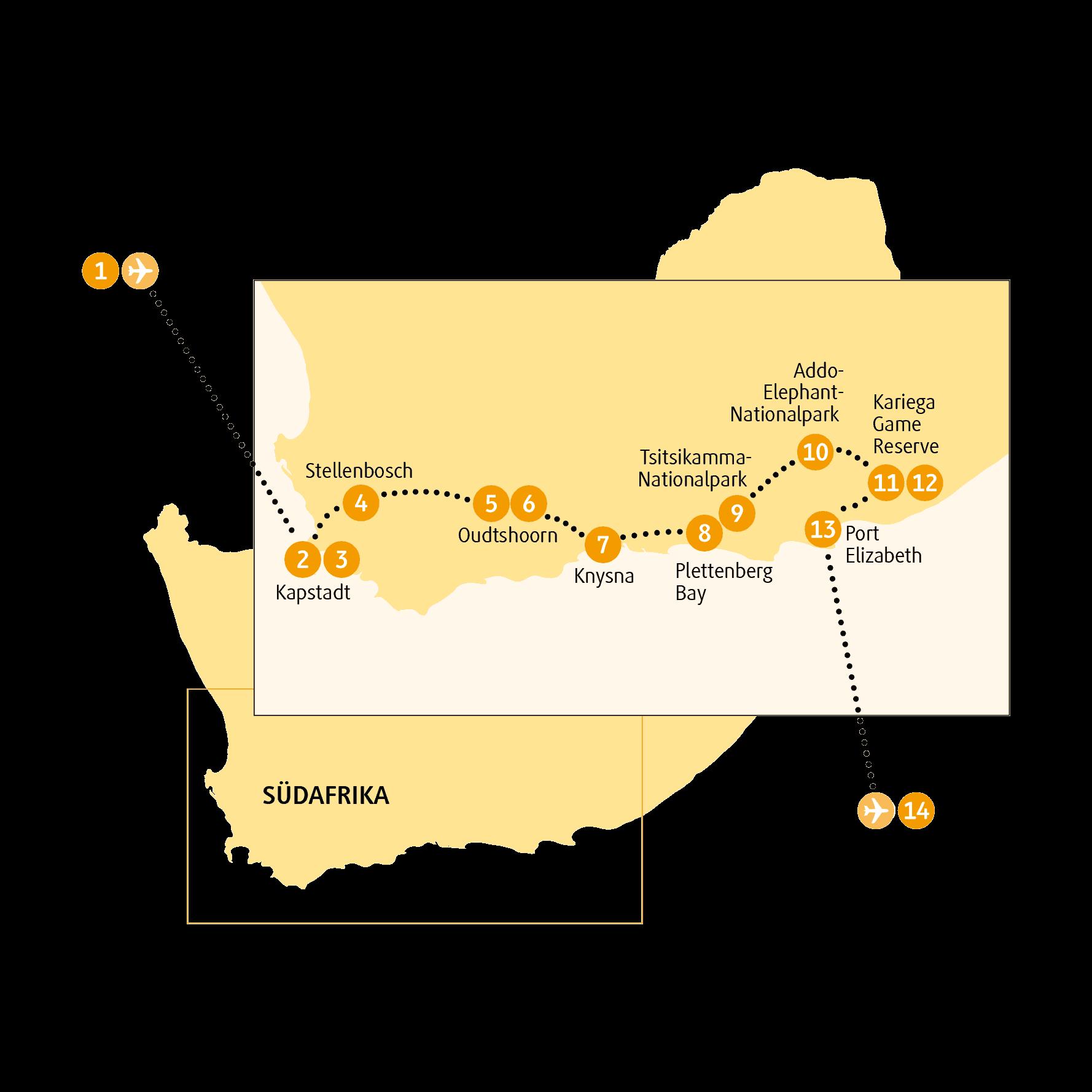 Karte Südafrika Garden Route.Garden Route 14 Tage Wunderwelten Reise Südafrika Chamäleon