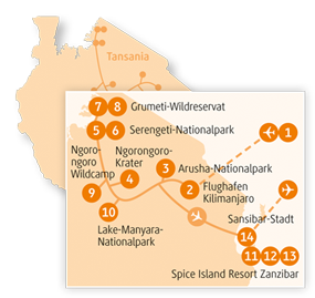 Private-Reisen mit 4 bis 6 Teilnehmer_Tansania-Giraffe